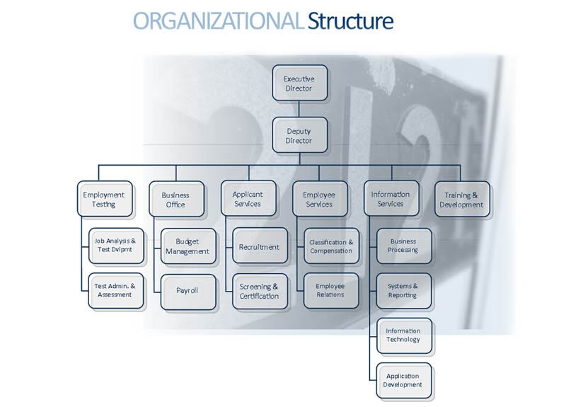 Organizational Chart for The Personnel Board of Jefferson County Alabama - click for text version